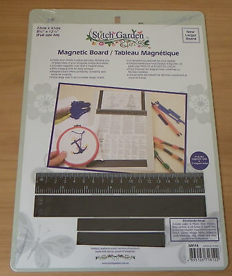 Magnetic board with magnetic ruler & 3 strips A4 size for cross stitching