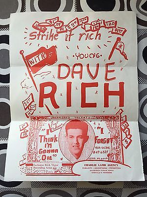 1955 Rockabilly Artist Dave Rich Promotional Music Flyer to DJ