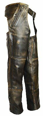 Vance Leather High Mileage 4 Pocket Distressed Brown Leather Chap with Removable