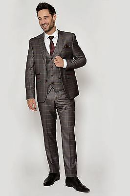 Mens Marc Darcy Designer Grey Check Three Piece Work Party Suit Sz 34-52 Avail