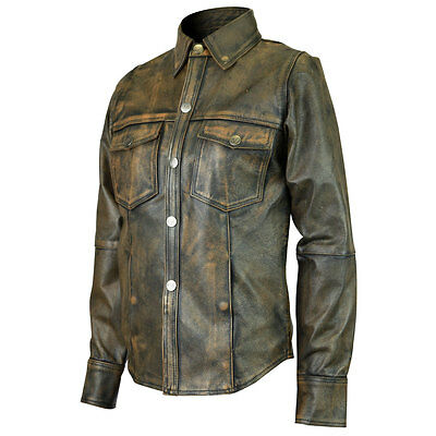 Ladies High Mileage Premium Leather Shirt Distressed Brown Leather