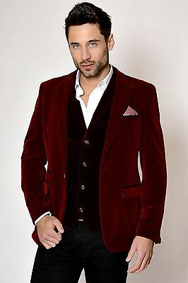 Mens Marc Darcy Designer Wine Red Velvet Blazer Smoking Jacket
