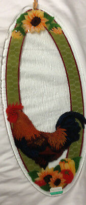 """Peggy Karr Fused Glass Rooster  19 3/4"""" Oval Platter Wall Hanging Sunflowers"""