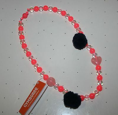 New Gymboree Polar Pink Line Pink Bead Pom Pom Heart Necklace One Size NWT