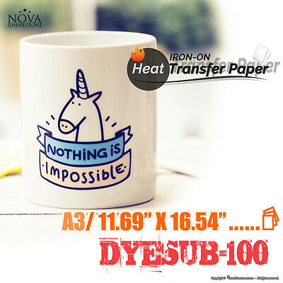 """Heat Transfer Paper DYESUB-100 A3 (11.69"""" x 16.54"""") Pack of 100 Sheets"""
