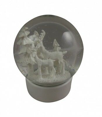 Gisela Graham Reindeer Scene Christmas Snow Globe - Minimal all white snow dome