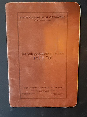 1919 Duplex Locomotive Stoker Type D-1 Manual Instructions for Operating Foldout
