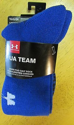 NWT Under Armour Youth LARGE UA TEAM Royal Blue Over the Calf SOCKS YLG