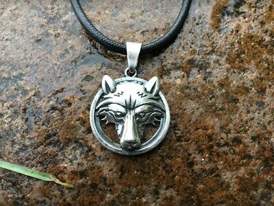 Heavy Solid Silver Sterling 925 TOTEM Amulet WOLF Fenrir VIKING PENDANT Amulet
