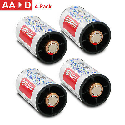Battery Converter from AA to D battery adapters 4 pack changes batteries Maxell