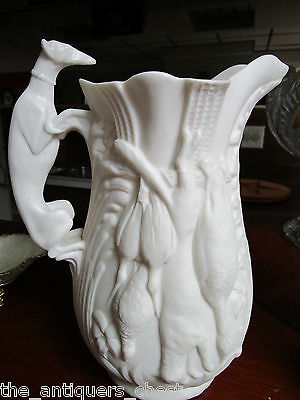 Bisque  Porcelain Hunting Hound large Pitcher unmarked