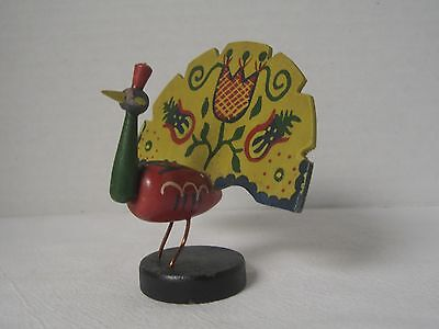 "VTG Wooden Colorful Hand Painted Peacock Bird Figurine 4"" Tall"