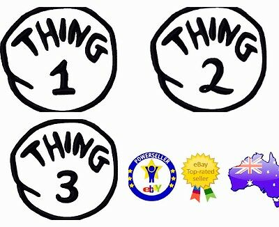Thing 1 Thing 2 Thing 3 Iron On / Sew On Patch 12Cm ! Dr Seuss Bookweek Costume