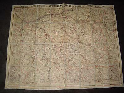 Vintage Map of France Cartes Taride No. 12 for Automobiles and Cyclists 35X27.5""