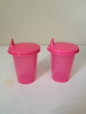 Tupperware Kids Bell Tumblers Cups 7oz Set of Two Pink New