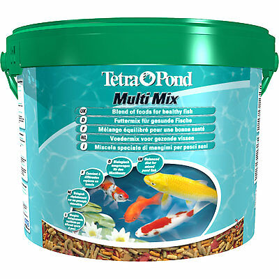 Tetra Pond Multi Mix 10 Eimer Mischung aus Sticks Flocken Gammarus Wafer Teich