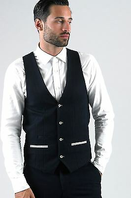 Mens Marc Darcy Designer Navy Denim Look Slim Fit Waistcoat Formal Vest