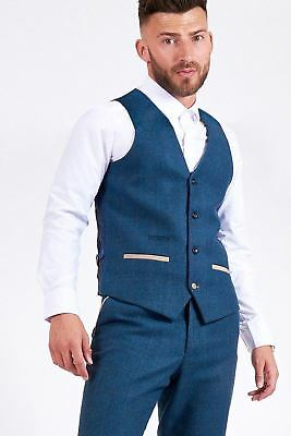 Mens Marc Darcy Designer Blue Tweed Herringbone Wool Style Waistcoat Formal Vest