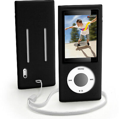 Black Silicone Skin Case for Apple iPod Nano 5th Gen 5G Cover Holder