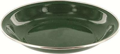 Retro Vintage Camping Style New Green 20cm Wide Deluxe Enamel Soup Plate
