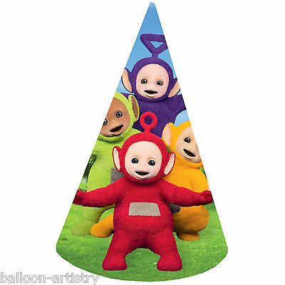 8 Adorable Teletubbies Children's Birthday Party 16cm Paper Cone Hats