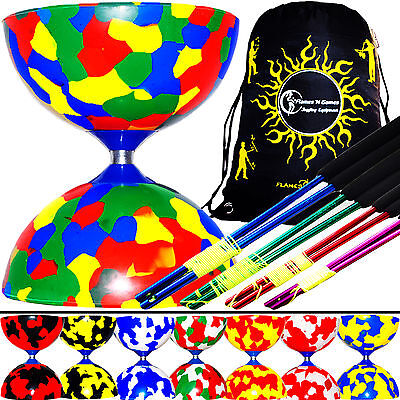 JESTER Diabolos - Pro Diabolo Set + Coloured METAL Diablo Sticks & String + Bag