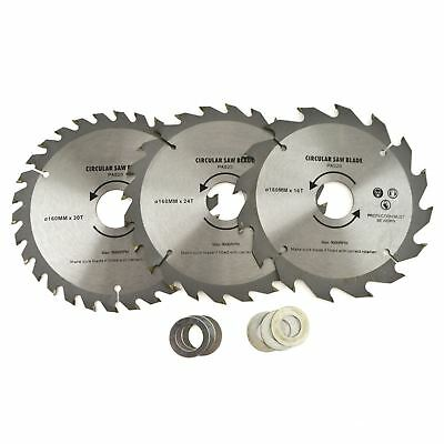3pc 160mm TCT Circular Saw Blades 16/24/30 TPI & Adapter Rings Reducer TE858