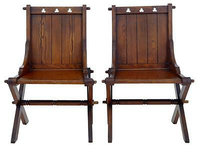 Pair Of Early 20Th Century Pitch Pine Glastonbury Chairs