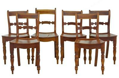 Set Of 6 19Th Century Fruitwood Saddle Seat Dining Chairs