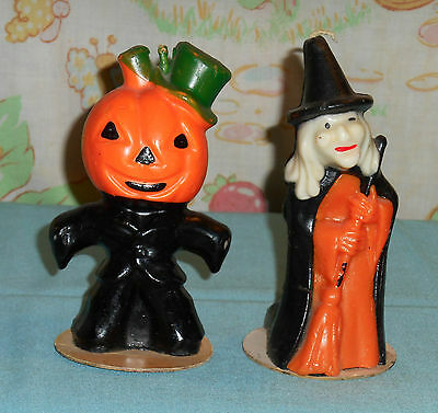 vintage Halloween GURLEY CANDLE 5-inch witch & scarecrow lot
