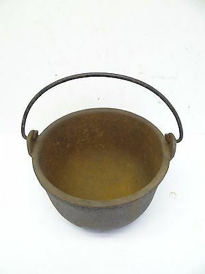 Antique Old Metal Cast Iron Erie PA Hollands 10 Cauldron Cooking Bean Camp Pot