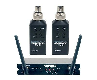 NuVOICE PL-2 2 Channel Plug-On Transmitter Convert Wired Microphone to Wireless