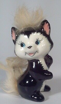 "Vintage Enesco 3"" Skunk Polecat Figurine With Fur Tail"