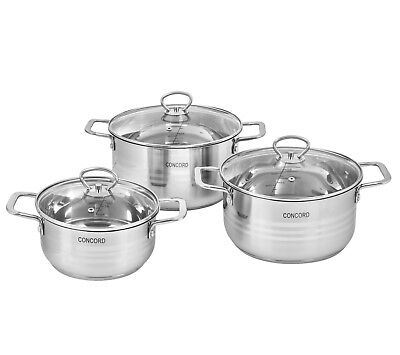 CONCORD 6 Piece Stainless Steel Cookware Set Dutch Oven Induction Compatible