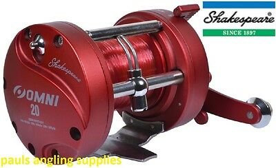 Shakespeare OMNI Right  Hand RH Wind Multiplier Reel For Boat Fishing Red Line
