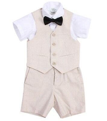Page Boy Christening Formal Wedding 4pc Linen Blend Short Suit From 3 Ms - 6 Yrs