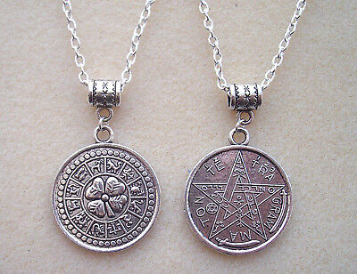 Reversable Tetragrammaton Pentagram Zodiac Good Luck Amulet Magic Charm Necklace