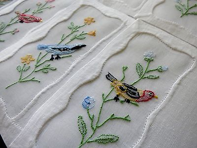BIRDS & FLOWERS in ORGANDY WINDOWS 8 Linen Cocktail Napkins Madeira Embroidery