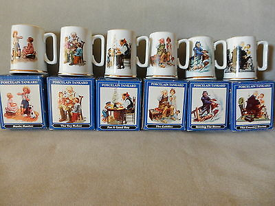 "NORMAN ROCKWELL ""THE CLASSIC TANKARD COLLECTION"" - COMPLETE SET of 6"