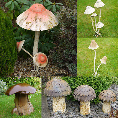 Distressed Rustic Tall Mushroom Toadstool Garden Ornament Metal Wood Sculpture