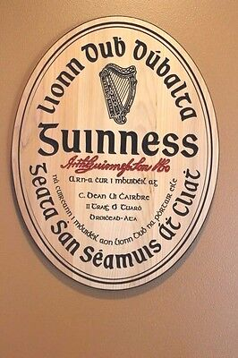 Gaelic Guinness beer home bar signs carved wood decor man cave pub sign gift