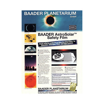 "Baader AstroSolar Visual Filter Film ND 5 A4 Sheet 20x29cm 7.9x11.4"" # 2459281"