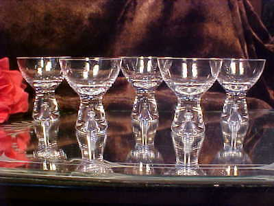 5 FAB Crystal Glass Shot Cordial Glasses HUGE BUBBLE Base Littala, FINLAND TAPIA
