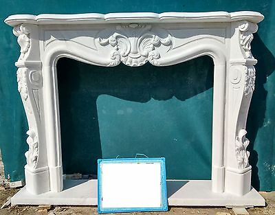 Cornice Camino In Marmo Scolpito Bianco Mod 11 Cm.135-Cm.150 Fireplace In Marble