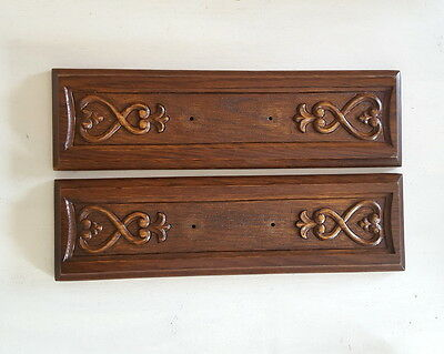 2 VINTAGE FRENCH CARVED WOOD PEDIMENT PANEL Drawer front SALVAGED CARVING
