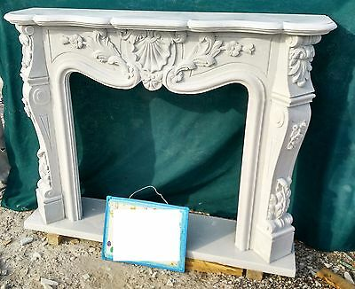 Cornice Camino In Marmo Scolpito Bianco Mod 47 Cm.135-Cm.150 Fireplace In Marble