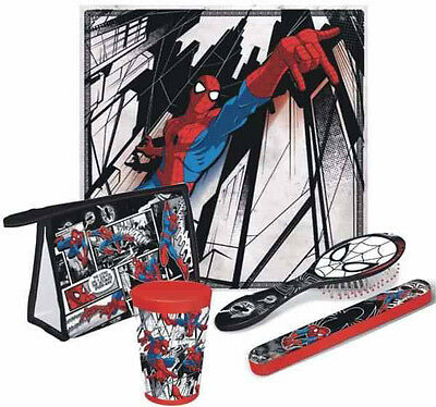 Ultimate Spider-Man 5Pc Bathroom Travel Set Towel Cup Toothbrush Cover Brush Bag
