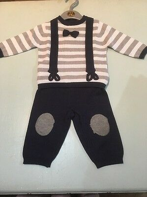 Baby boys knitted outfit trousers top gift 0-3-6-9-12 months bow tie braces navy