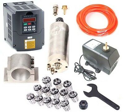 Upgrade CNC 2.2KW Spindle Spindel Motor + inverter + Mount + ER20 Collet + pump