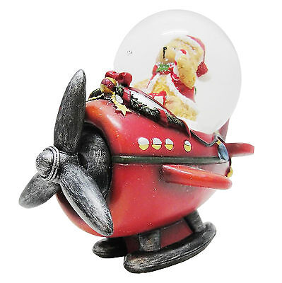 Christmas Teddy in a Plane Snow Globe - Collectable Christmas Decoration